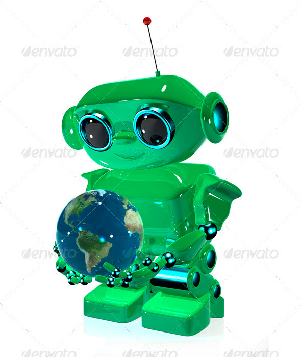 GraphicRiver Green Robot 3396763