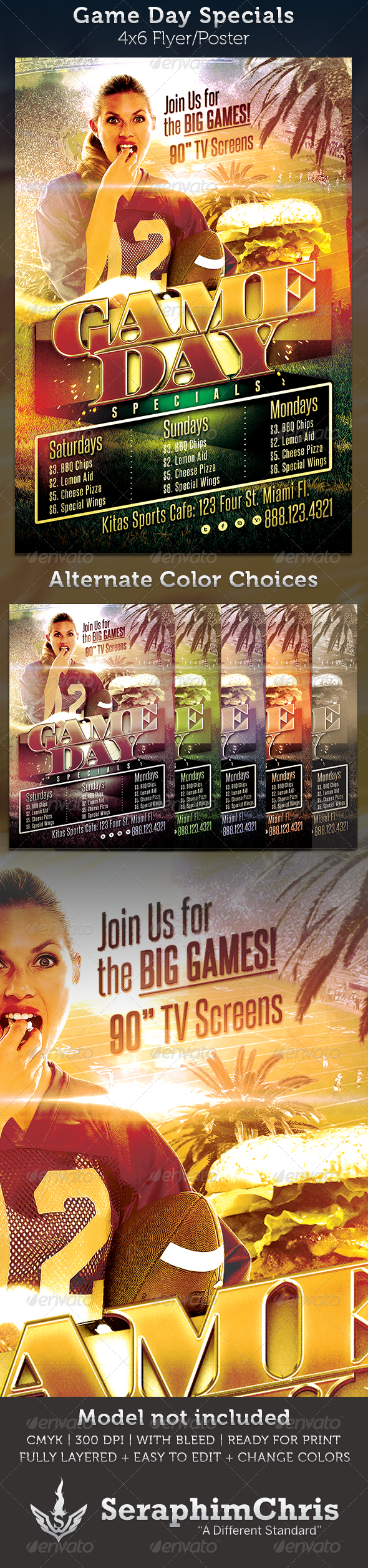 GraphicRiver Game Day Specials Football Flyer Template 3418957