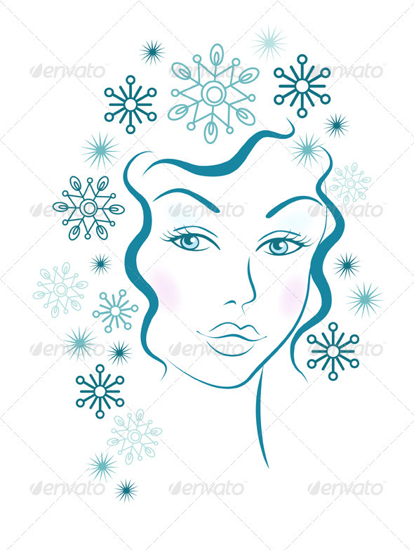 GraphicRiver Winter Girl With Blue Snowflakes Hair 3419169