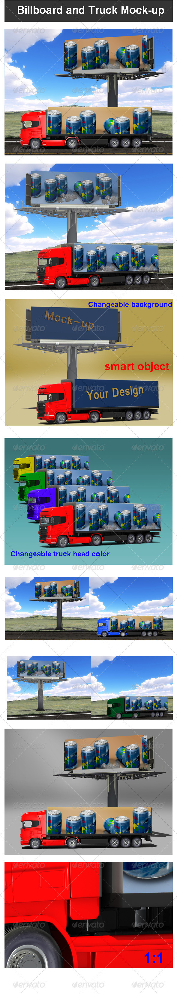 GraphicRiver Billboard and Truck Mock-up 3419212