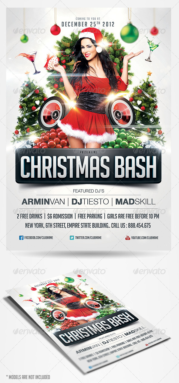 Flyer de Navidad Christmas Bash 2