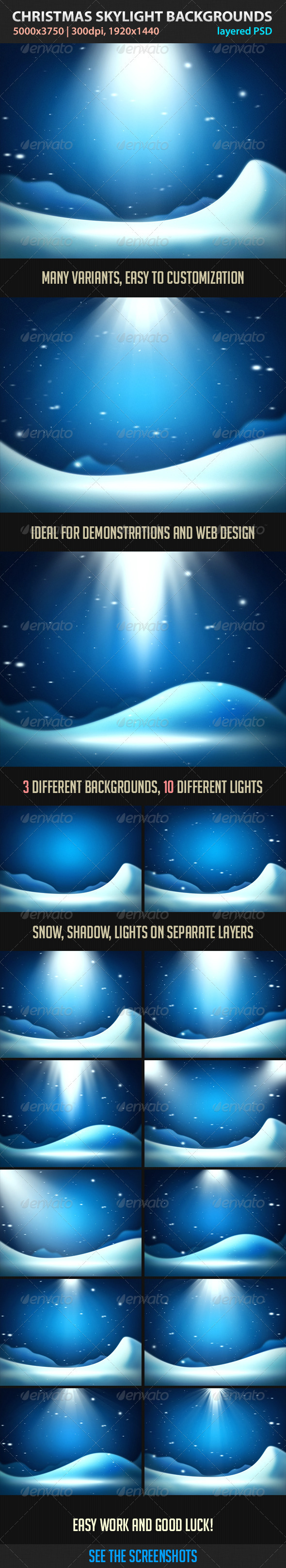 GraphicRiver Christmas Skylight Backgrounds 3419242