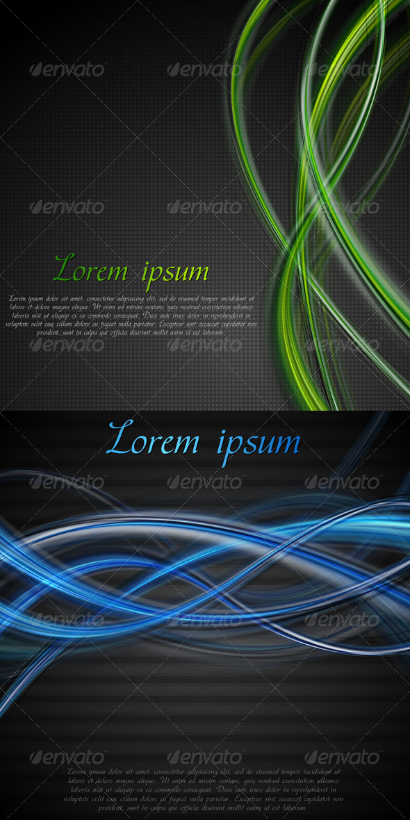 GraphicRiver Vibrant Blue and Black Wavy Backdrop 3421582