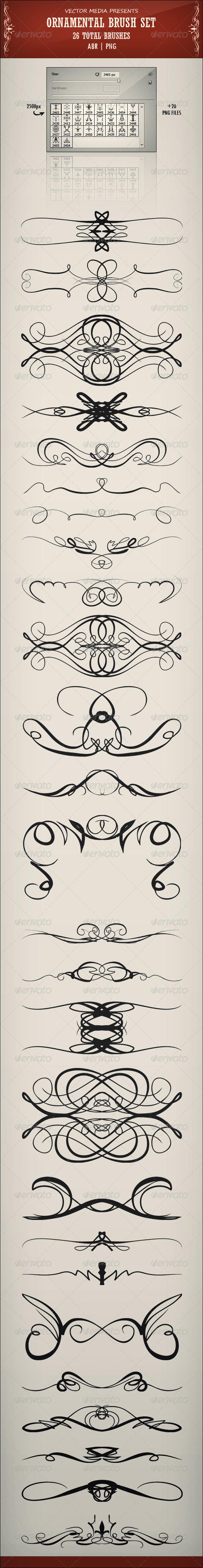 GraphicRiver Ornamental Brush Set 3421666
