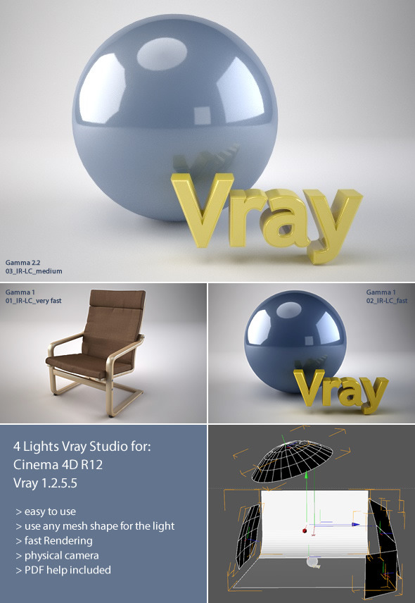 V-ray Cinema4D Studio Setup + PDF Help - 3DOcean Item for Sale