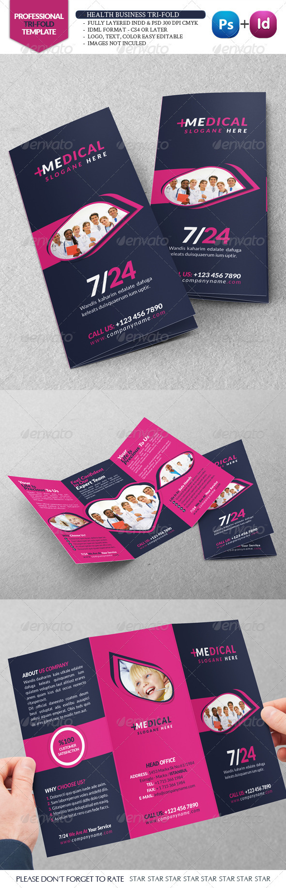Health Business Tri-Fold - Brochures Print Templates