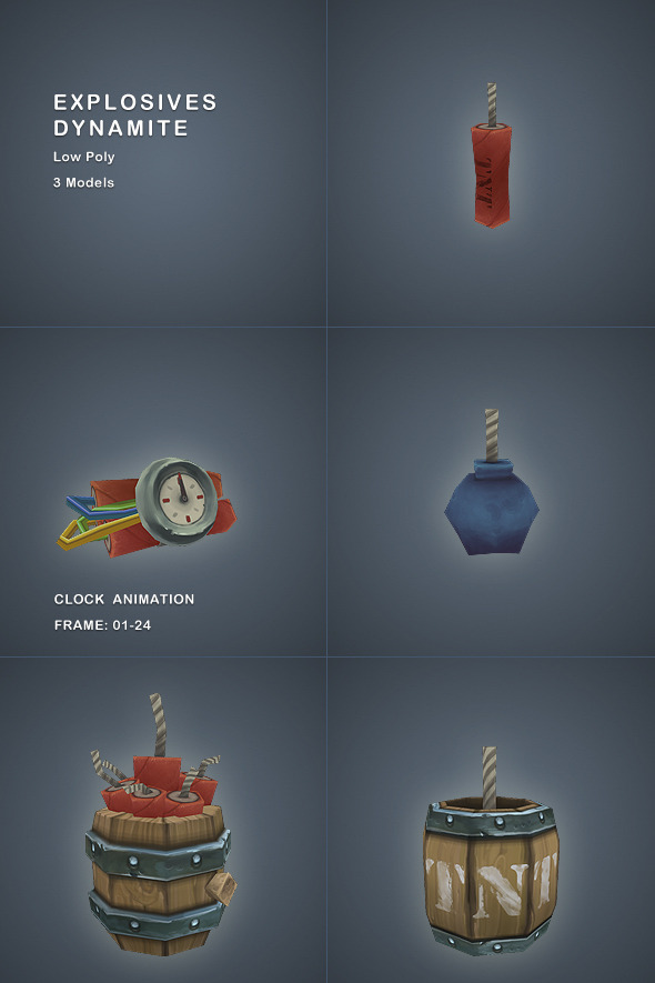 3DOcean Explosives Low Poly 3385924