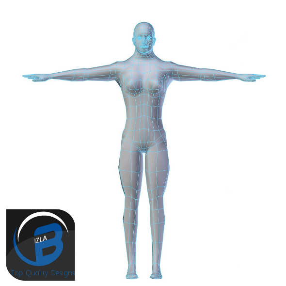 3DOcean Muscular Woman Base Mesh LOW POLY 3423257