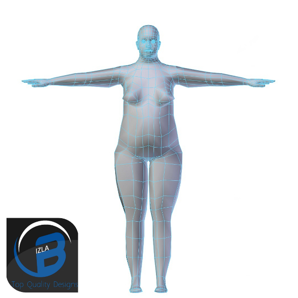 3DOcean Obese Woman Base Mesh LOW POLY 3423291