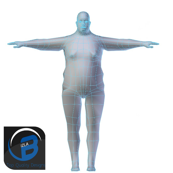 3DOcean Obese Man Base Mesh LOW POLY 3423300