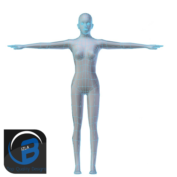 3DOcean Young Woman Base Mesh LOW POLY 3423312