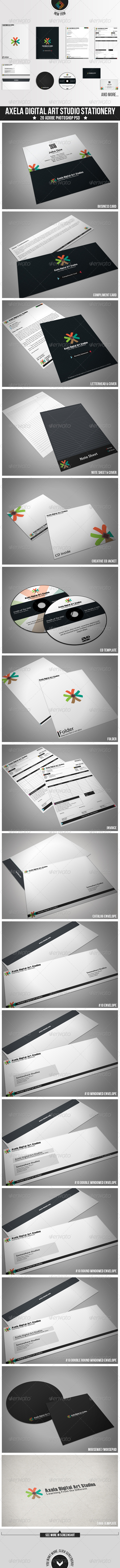 GraphicRiver Axela Digital Art Studios Stationery 3423414