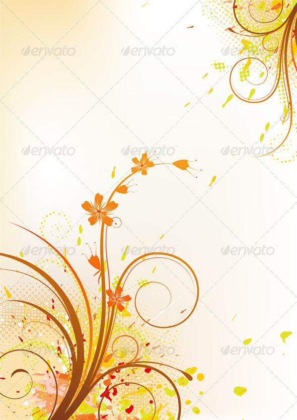 GraphicRiver Grunge Floral Composition 3424321