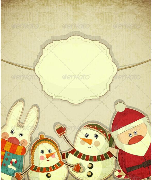 GraphicRiver Vintage Design of Christmas Postcard 3424479