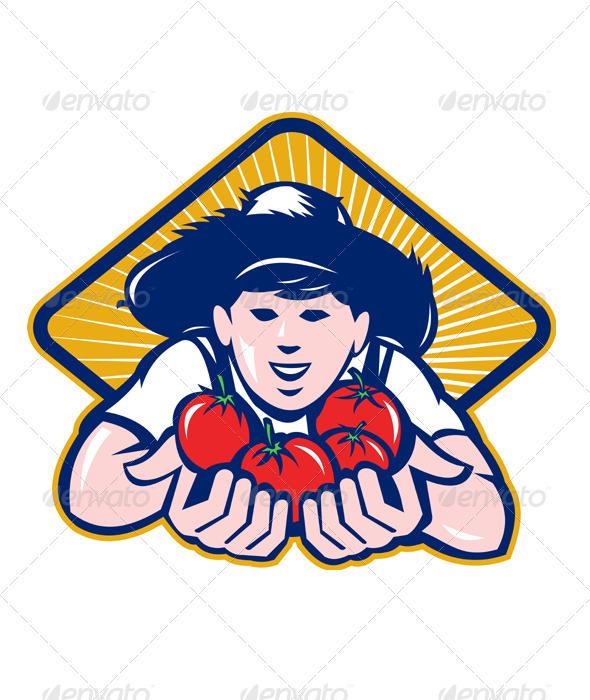 GraphicRiver Organic Farmer Boy Handing Tomato Retro 3425456