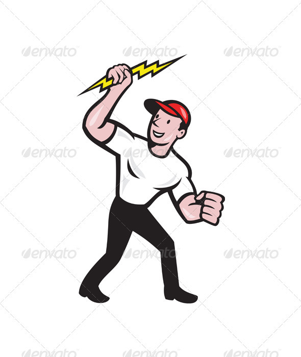 GraphicRiver Electrician Construction Worker Cartoon 3425523