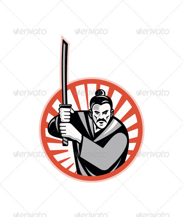 GraphicRiver Samurai Warrior Sword Retro 3425596