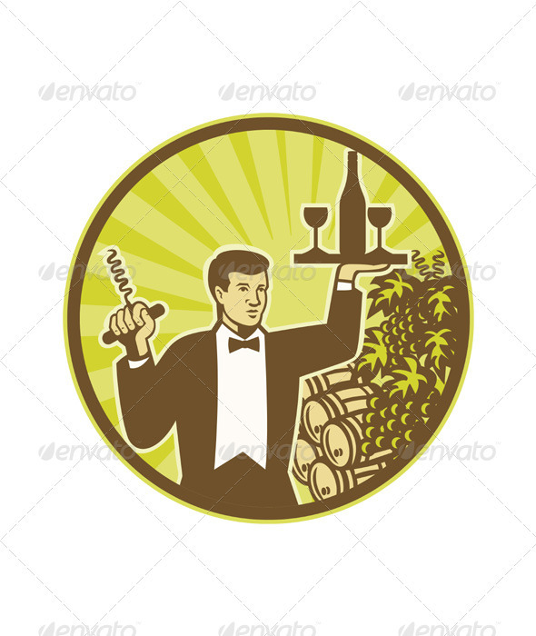 GraphicRiver Waiter Serving Wine Grapes Barrel Retro 3425683