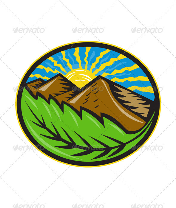 GraphicRiver Mountains Leaf Sunburst Retro 3425808