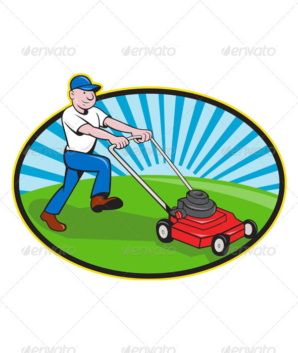 GraphicRiver Lawn Mower Man Gardener Cartoon 3425829