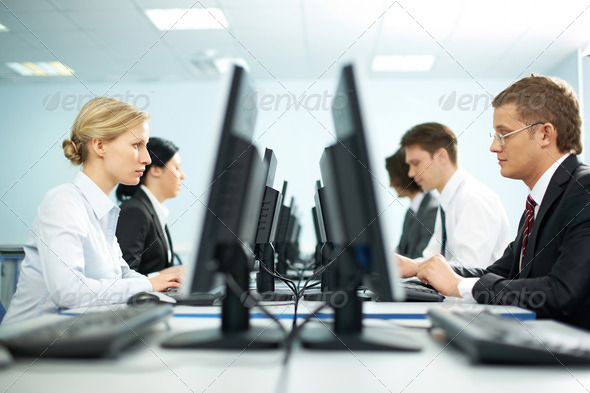 Rows of office workers - Stock Photo - Images