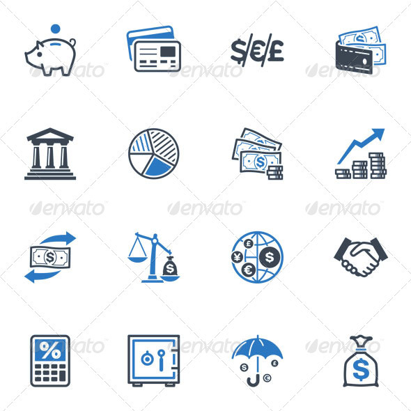 GraphicRiver Finance Icons Blue Series 3426757
