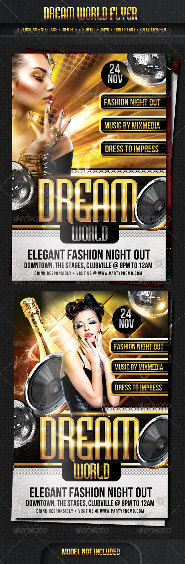 Dream World Flyer Template - Clubs & Parties Events