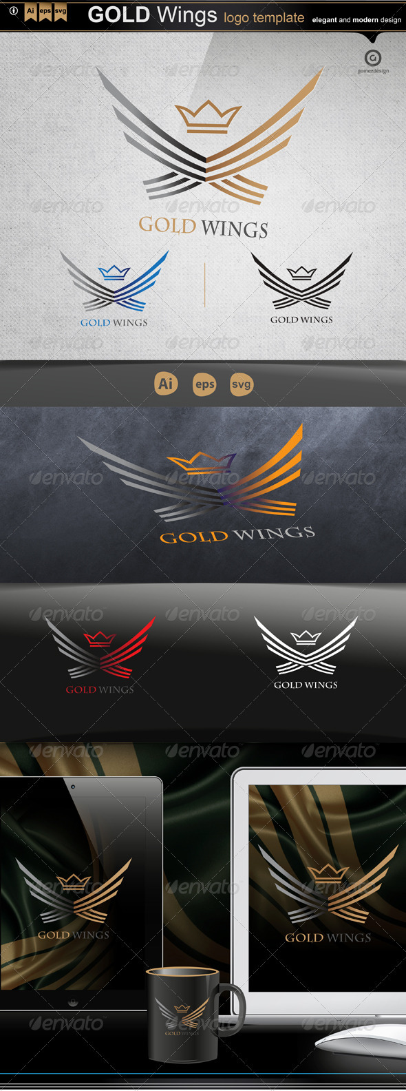 GraphicRiver Gold Wings 3426817