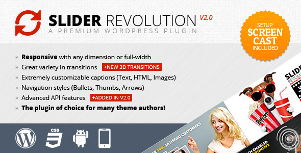 Slider Revolution! Responsive WordPress Plugin included