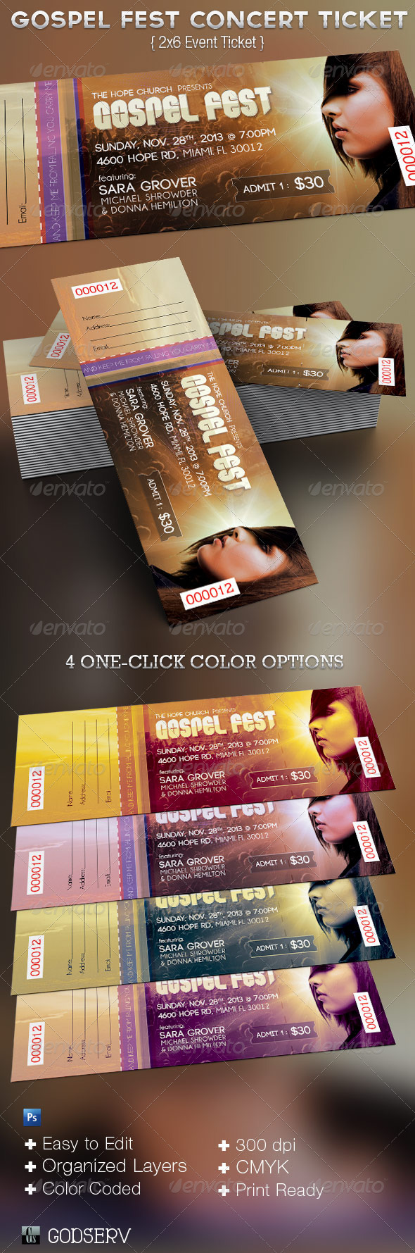 Gospel Fest Concert  Ticket Template  - Miscellaneous Print Templates