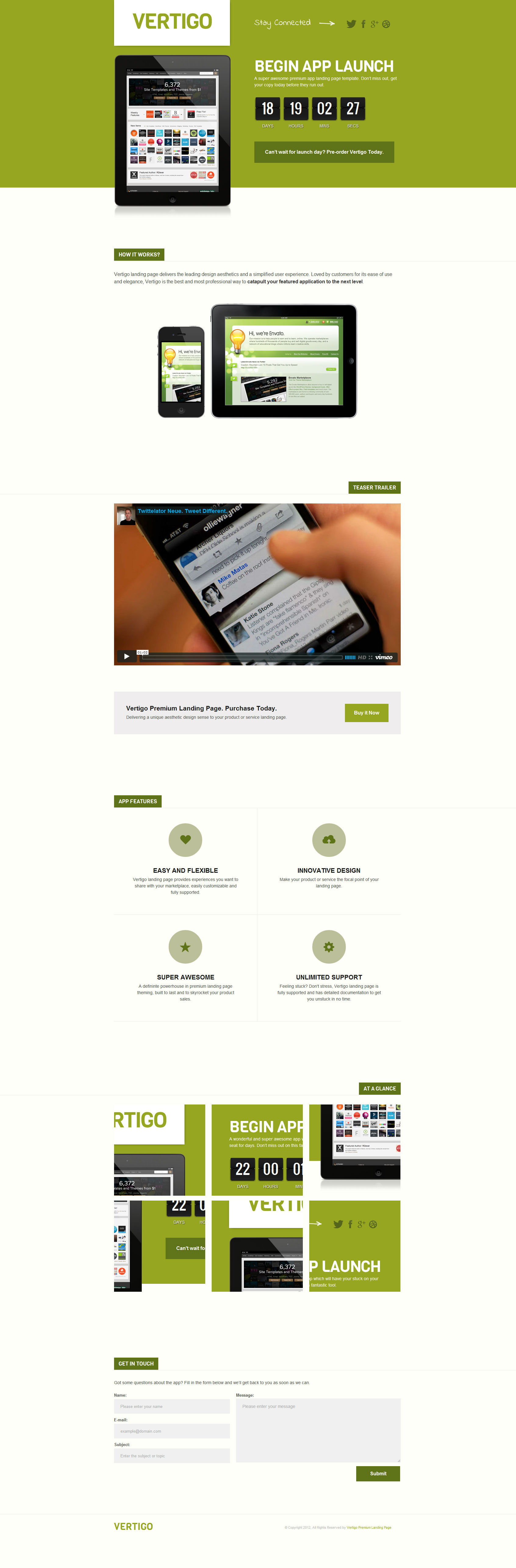 Vertigo Premium Landing Page