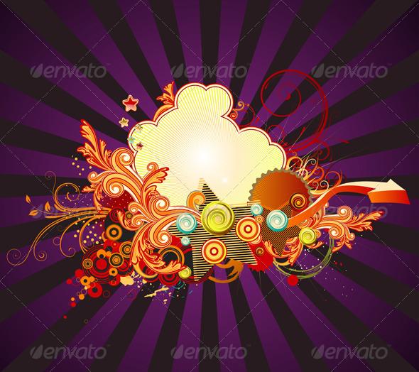 GraphicRiver Retro Floral Composition 3427491
