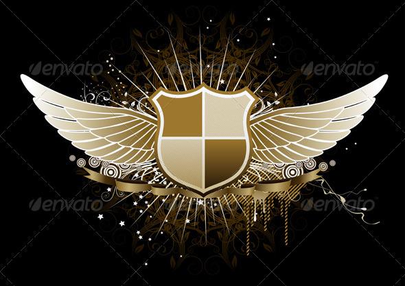 GraphicRiver Golden Winged Heraldic Shield 3427509