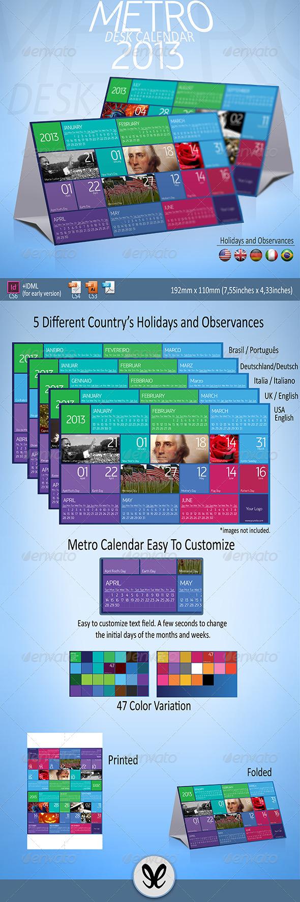 Metro Calendar 2013 / Desktop