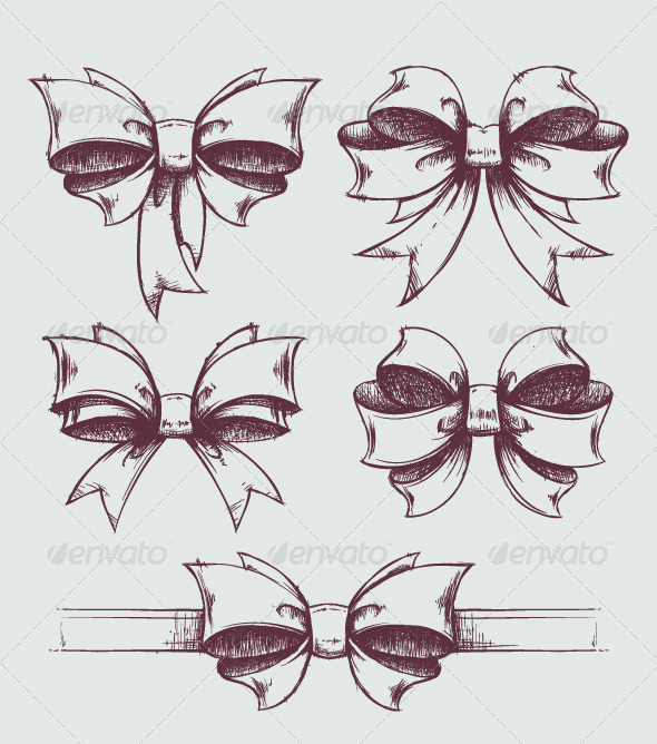GraphicRiver Hand drawn gift bows 3400917