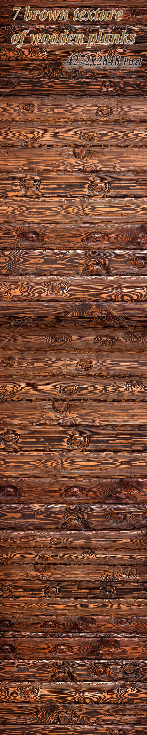 GraphicRiver Seven Brown Texture of Wooden Planks 3429770