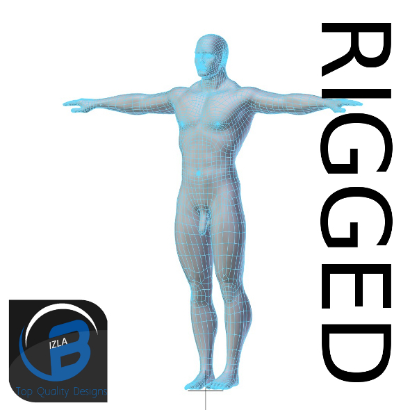 3DOcean RIGGED Muscular Man Base Mesh HIGH POLY 3430173