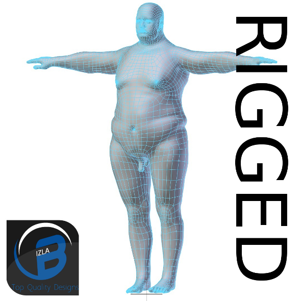 3DOcean RIGGED Obese Man Base Mesh HIGH POLY 3431137