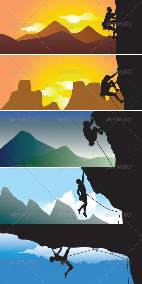 GraphicRiver Rock Climbing Silhoutte 3431184