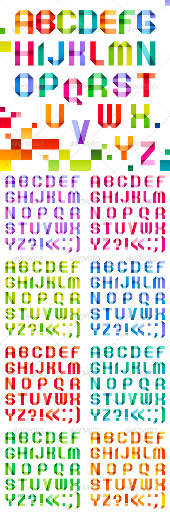 Spectral Letters Folded of Paper Ribbon Color