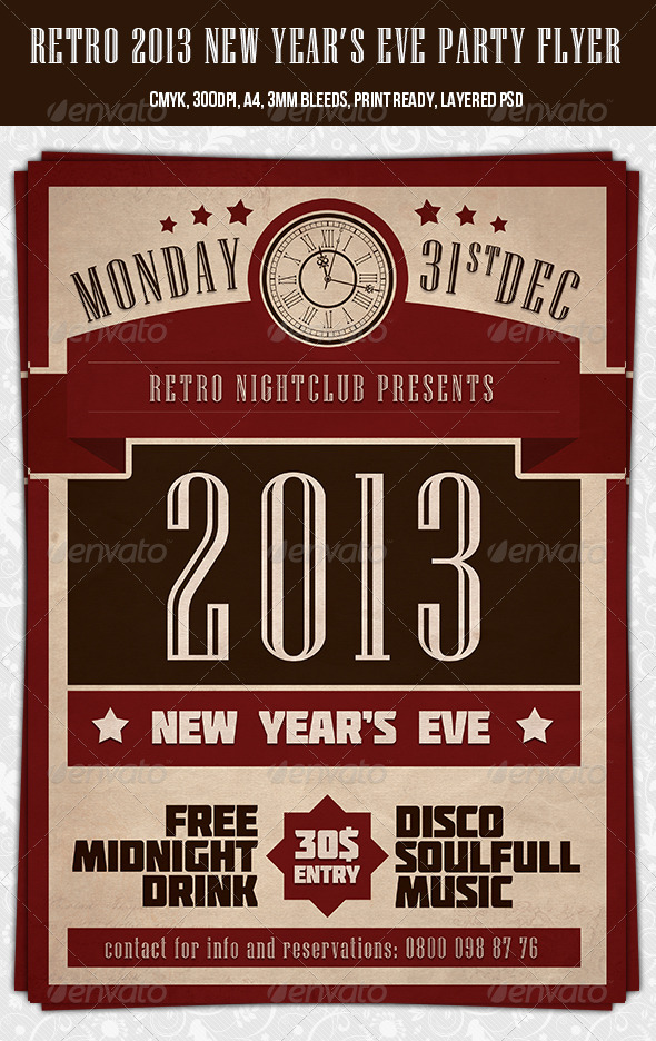 Retro 2013 New Year Party Flyer Template - Holidays Events