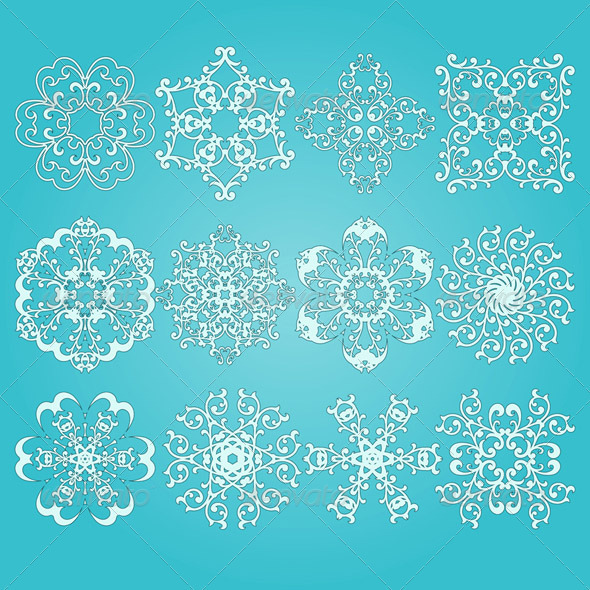 GraphicRiver 12 Vector Snowflakes 3431568