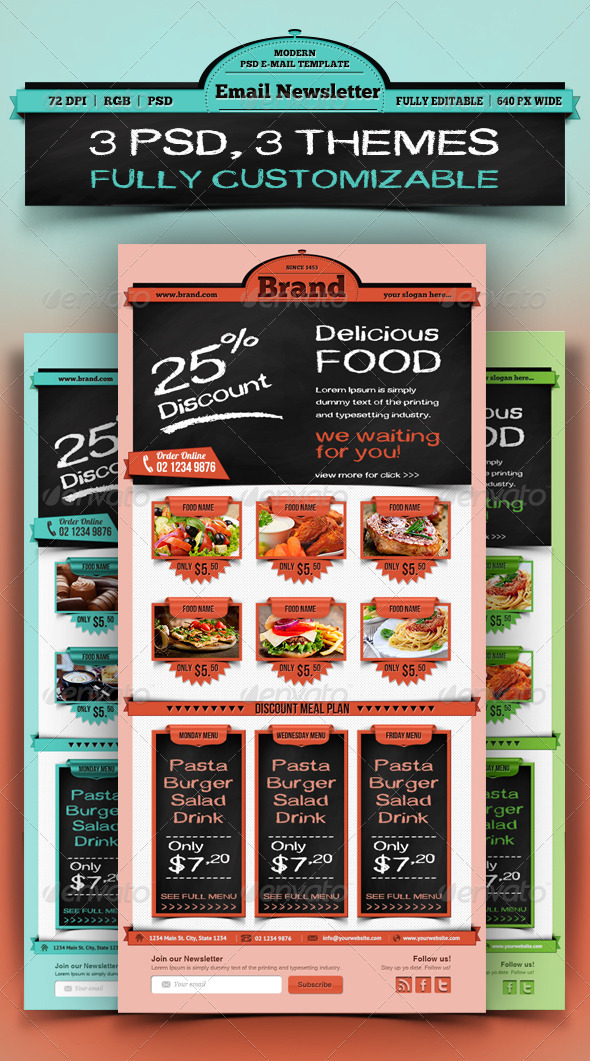 Restaurant Food Email Newsletter Template - E-newsletters Web Elements