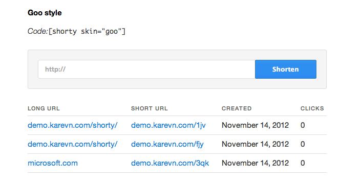 Shorty URL shortener