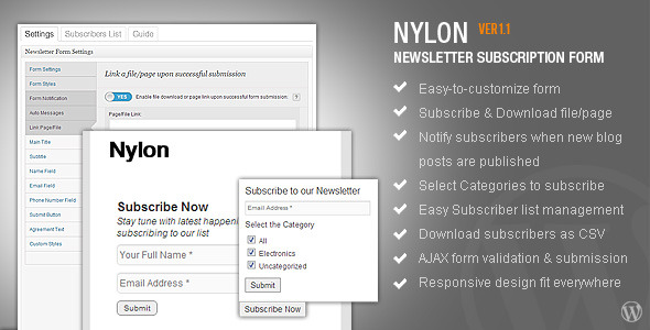 CodeCanyon nyLON Subscription form WP Plugin 3317301