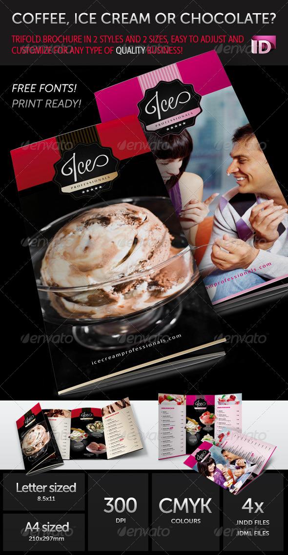 Coffee IceCream or Chocolate Trifold Brochure