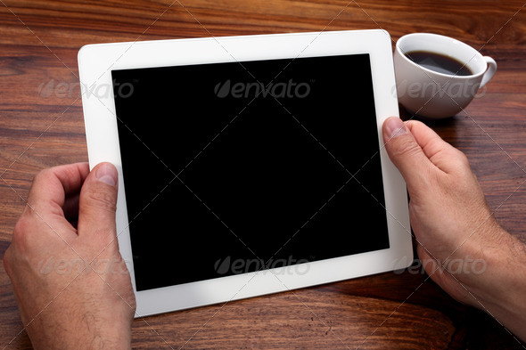 Digital tablet with blank screen - Stock Photo - Images