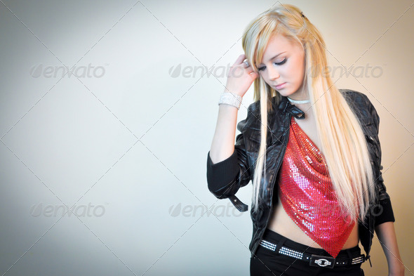 Blonde Teen Wallpaper Background - Stock Photo - Images