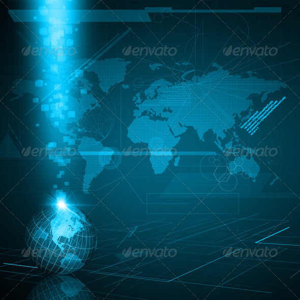 Earth globe in digital environment - Stock Photo - Images