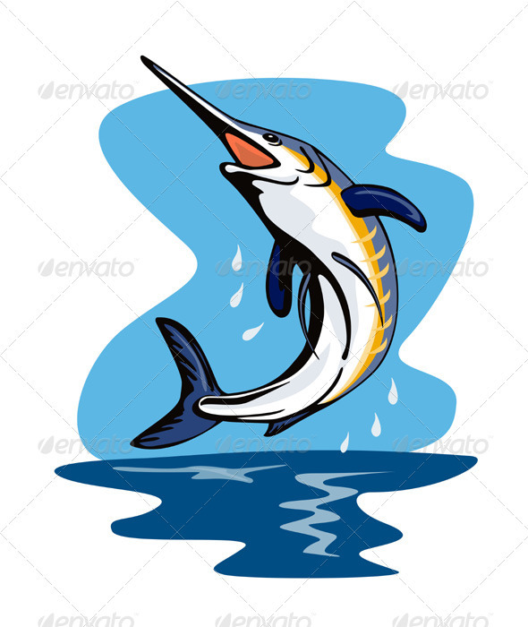 GraphicRiver Blue Marlin Fish Jumping Retro 3435478